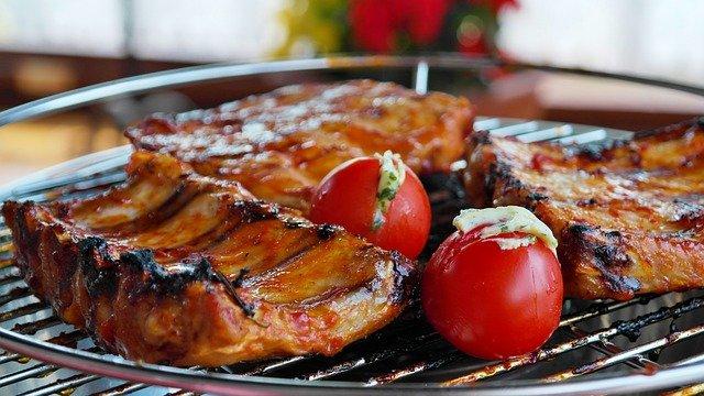 a pork on a grill